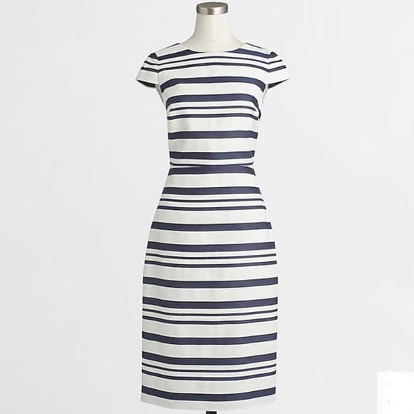 J. Crew Dresses & Skirts - J.Crew Striped Gray and White Cap Sleeve Dress